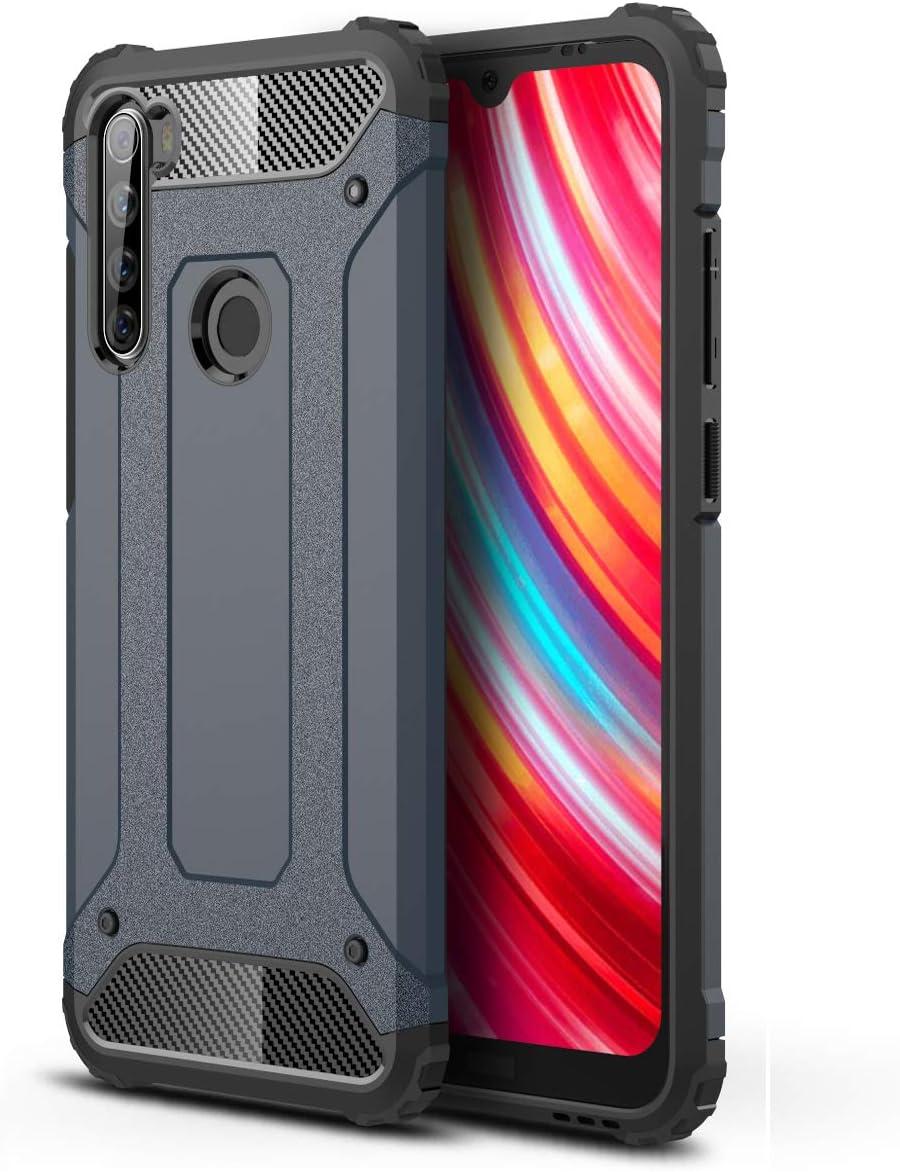 DESCHE Compatibles para Funda Xiaomi Redmi Note 8T Outdoor Funda Resistente + Cristal Templado, Dura PC + Suave TPU 2-en-1 Doble Protección Armadura Antigolpes Duradera Carcasa -Marina