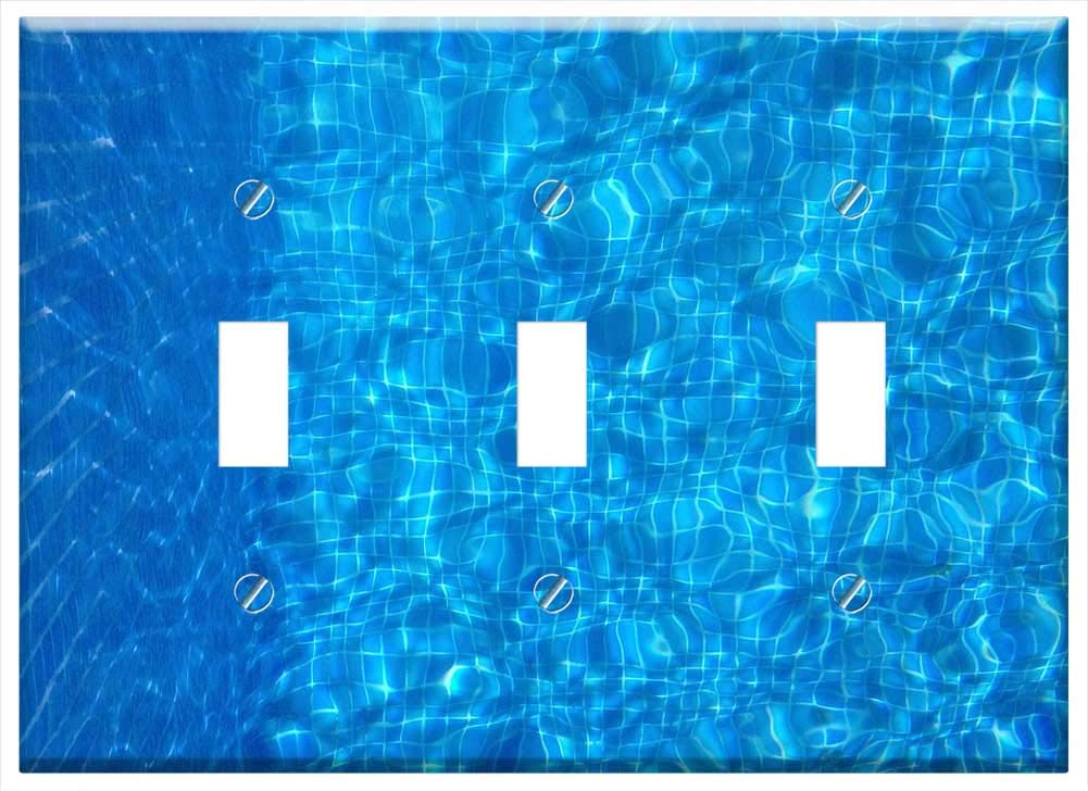 Switch Plate Triple Toggle - Underwater Swimming Pool Diving Water Blue Pool by Tree26