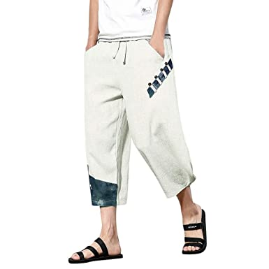 870552df9e48f Amazon.com: BingYELH Men's Patchwork Shorts Loose Linen Harem Capri ...