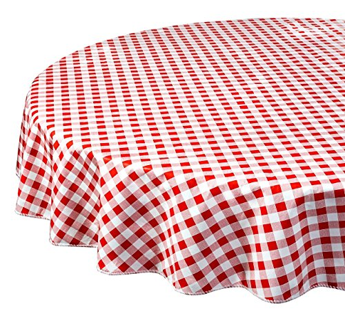 "Vinyl Tablecloth Round Tablecloths Plastic Tablecloth Indoor Outdoor Red Checkered 60"" Round"
