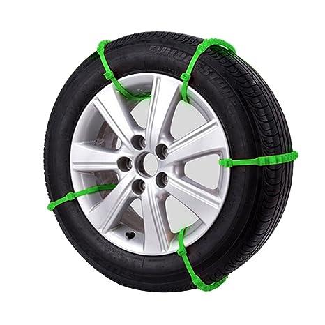GOZAR 10Xuniversal Coche Neumático Nieve Antideslizante Cadenas Cinturón Invierno Rueda Antideslizante Vehículo-Verde