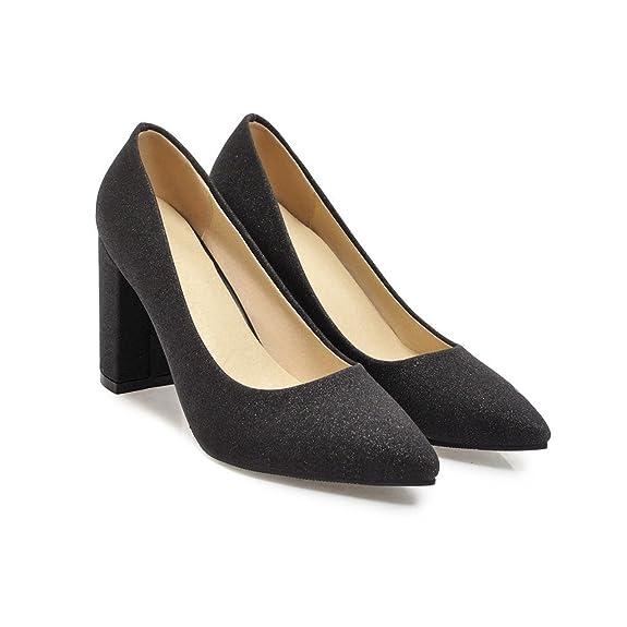 Chaussures Printemps Carré avec Un Seul Mode Chaussures Givré Rugueux, 35 EU, Noir