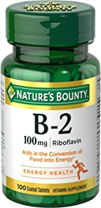 Nature's Bounty Vitamin B-2 100 mg, 100 Coated Tablets (Value Pack of 5)