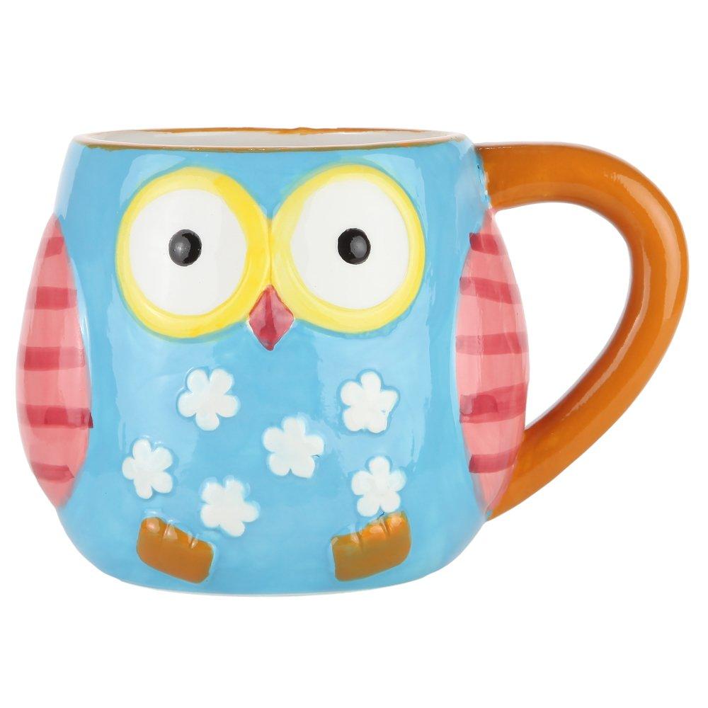 Home-X - Ceramic Owl Mug, Colorful 12 oz. Coffee & Tea Mug is the Perfect Way to Rise, Shine & Start Your Morning