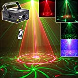 UP UPKJ Auto Sound Music Active 3 Lens 40 Gobos Green and Red Laser Projector Light and Blue LED With Remote Control for wedding, Disco DJ Lighting, home party stage lights