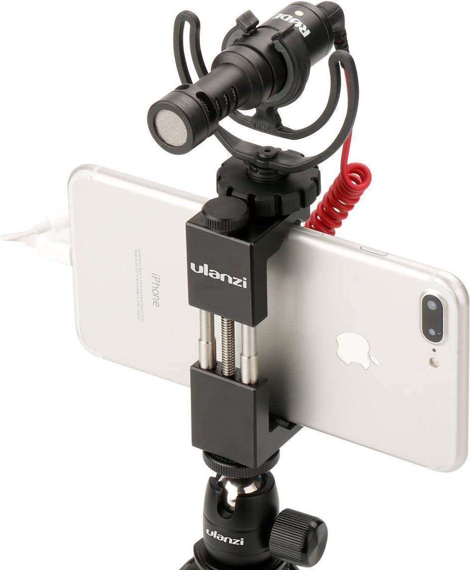 Adaptateur de tr/épied de t/él/éphone Portable Clip Rouge ULANZI ST-03 M/étal Smart t/él/éphone Tr/épied Mont avec Cold Shoe Mount et Arca-Style Quick Release Plate pour iPhone 7 Plus Samsung Huawei