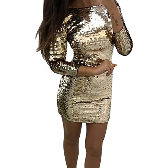 8601cecf Women Dress Party Dress Bodycon Dress Sequin Glitter Mini Dress Round Neck  Backless Solid Color Stretchy Club Dress, Women Sequins Dress Long Sleeves  ...
