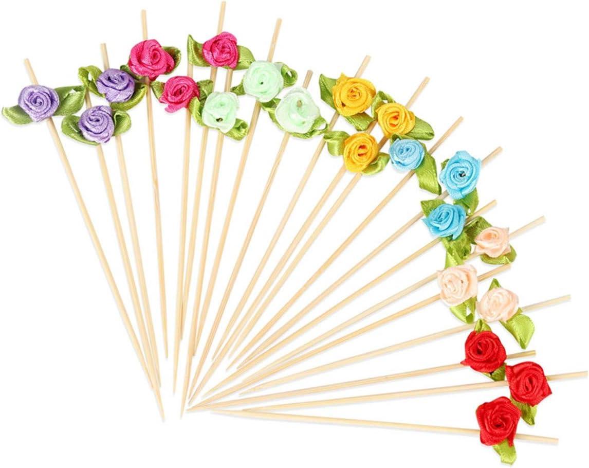 Minisland Rose Flower Appetizer Skewers Cocktail Picks Fancy Bamboo Toothpicks for Wedding Valentine's Day Bridal Shower Bachelorette Party Food Drinks Fruits Decoration 4.7 inch 100 Counts-MSL129