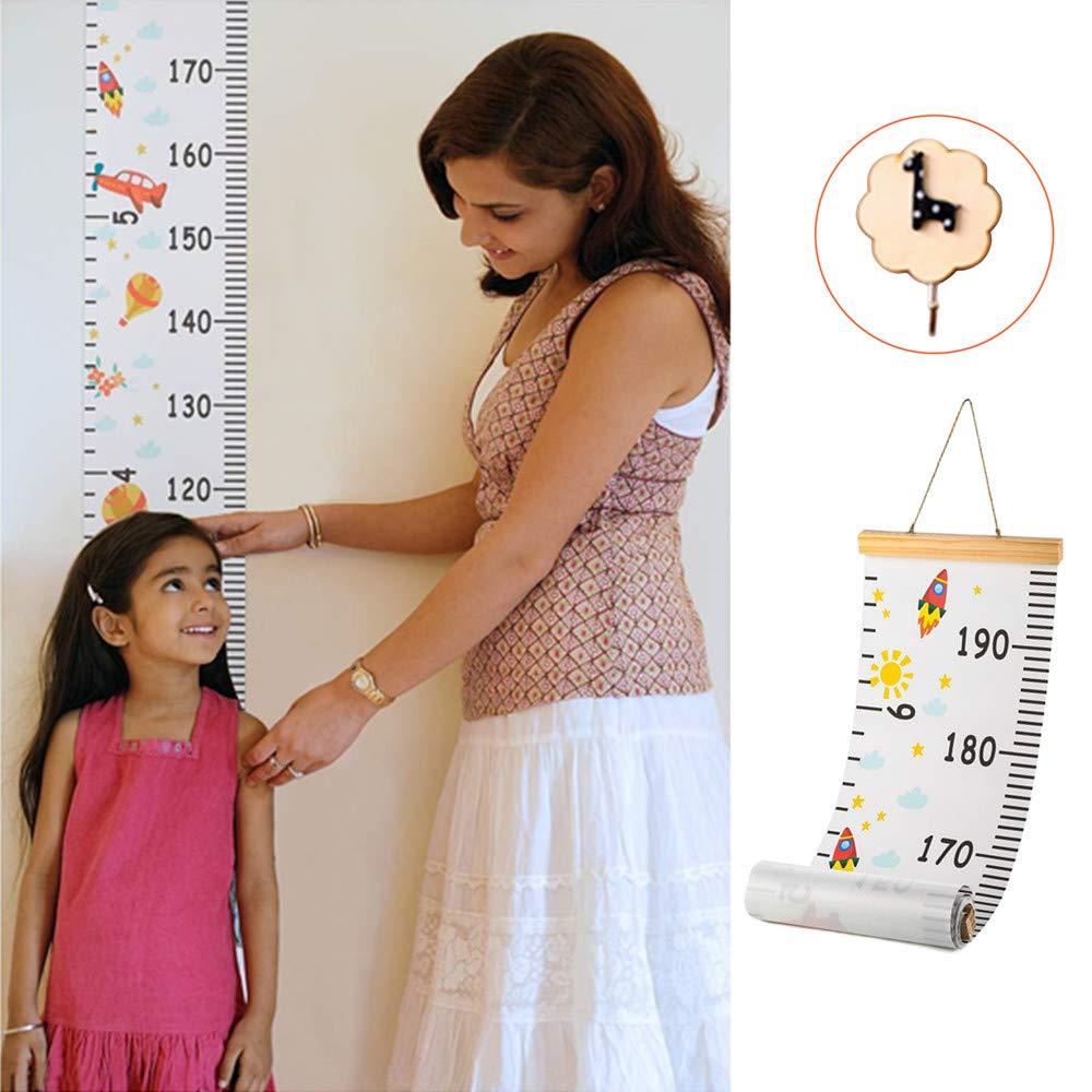 Kindergarten Messlatte f/ür Kinderzimmer Kindergarten aufrollbar Kinder-Wachstumstabelle mit abnehmbarem Leinen