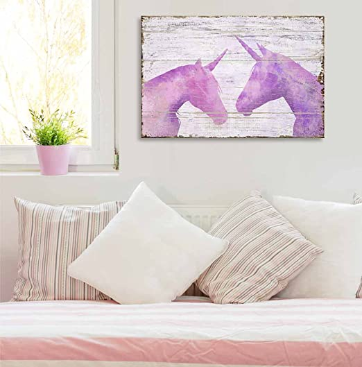 wall26 - Vintage Style Canvas Wall Art - Pink Unicorn on Wooden Background - Giclee Print Stretched Gallery Wrap | Modern Home Decor Ready to Hang - 24