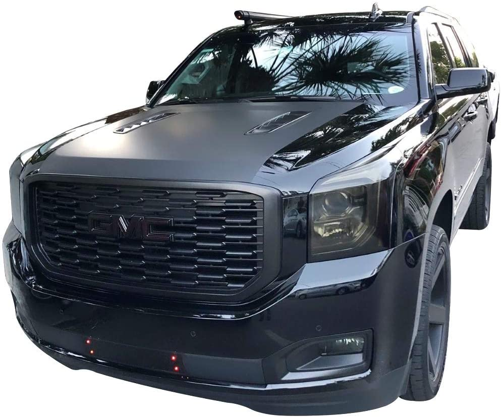 Grille Compatible With 2015-2019 GMC Yukon XL Denali Style Front Grille Grill Guard Replacement ABS Black by IKON MOTORSPORTS