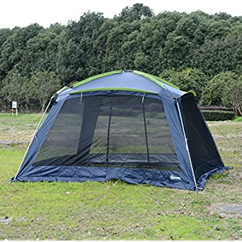 Outsunny 12u0027L X 12u0027W Mesh Portable Outdoor Screen House Shelter   Dark  Blue/Green