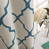 Blue Curtains 84 inch Moroccan Tile Print Curtains