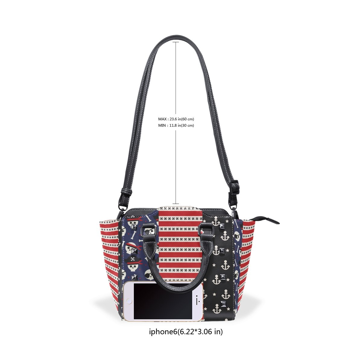Jennifer Various Pirates Skulls Element PU Leather Top-Handle Handbags Single-Shoulder Tote Crossbody Bag Messenger Bags For Women
