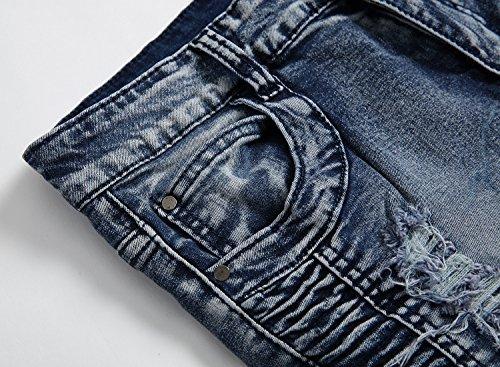 Blu Libero Grigio Uomo Fit Moda Denim Retro Tempo Distrutto Strappati Jeans Allungare Con Toppa 1 Fori Slim 0ZqwRC0