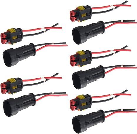Supmico 5 X 2 Polig Kabel Steckverbinder Stecker Wasserdicht Schnellverbinder Draht Kfz Auto