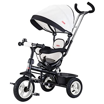 Triciclos- Trike para niños niños Bicicleta Empuje Manual Carrito de bebé Bicicleta para niños Bicicleta de Paseo para niños (Color : Blanco): Amazon.es: ...