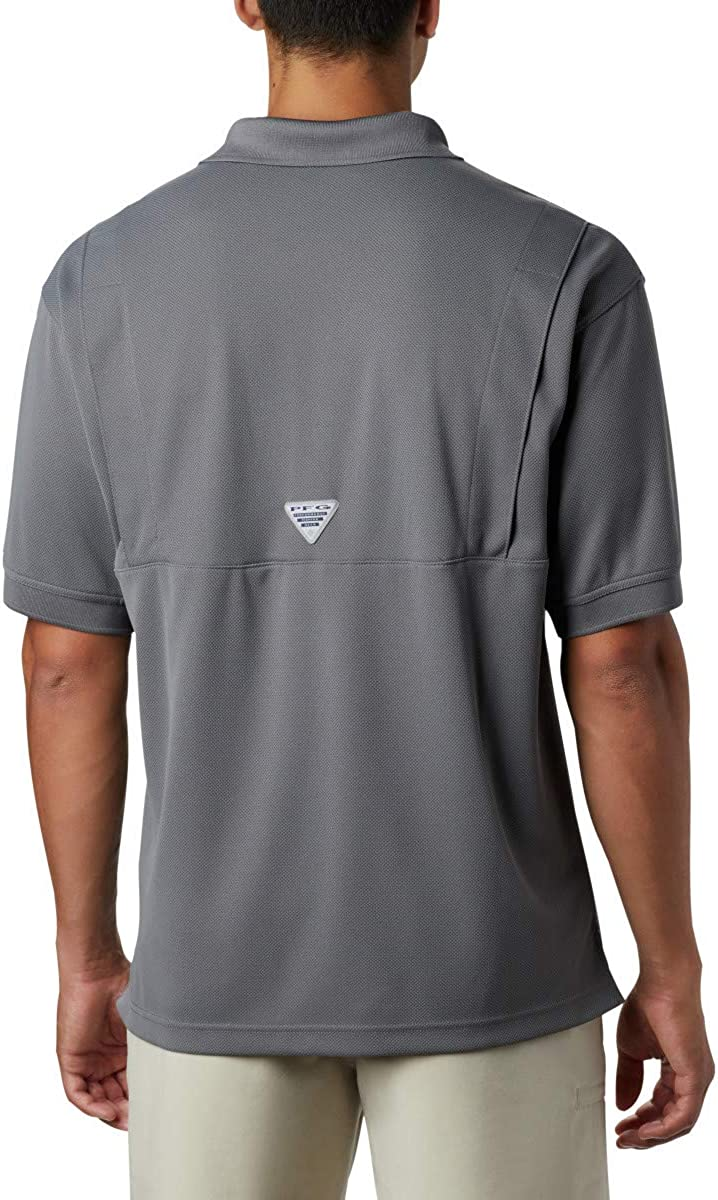 Large Columbia Mens Perfect Cast Polo Shirt City Grey