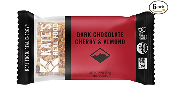 Kate's Real Food Organic Energy Bars, Non-GMO, All-Natural Ingredients, Gluten-Free and Soy-Free Healthy Snack with Natural Flavors, Dark Chocolate Cherry & Almond (Pack of 6)