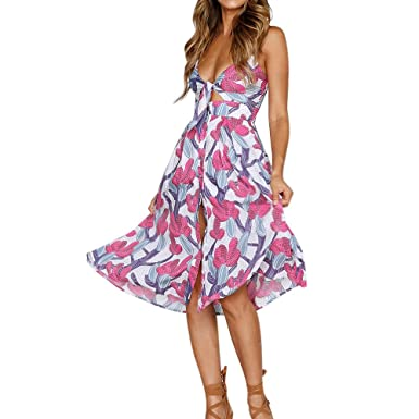 Ulanda-EU Womens Dresses Ladies Sexy Bandage Printed Cotton Dress Casual Beach Boho Holiday Evening