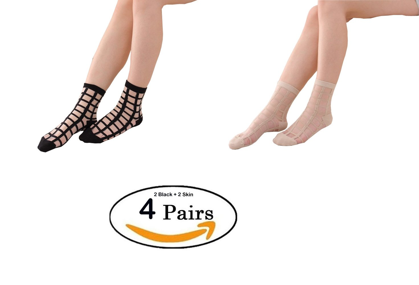 Lady Socks,Womens Pack-4 Spring Summer Glass Silk Series Stockings Thin Transparent Elastic Short Ankle Socks (Black Skin Mix)