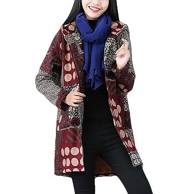 a386017e3ac941 Bealeuy Damen Übergröße Wintermantel Baumwolle Leinen Mantel Jacke mit  Kapuzen und Fleece-Innenseite Reißverschluss Flauschigen