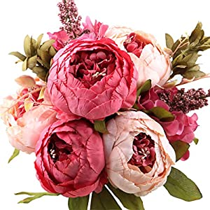 Leagel Fake Flowers Vintage Artificial Peony Silk Flowers Bouquet Wedding Home Decoration, Pack of 1 (Dark Pink) 27
