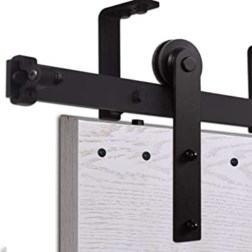 CCJH 6FT-183cm Techo Montado Herraje para Puerta Corredera Kit de Accesorios para Puertas Correderas Rueda Riel Juego para Una Puerta de Madera: Amazon.es: Bricolaje y herramientas