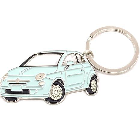 Fiat 500 Keychain Metal Enamel car accessorie Key fob Keyring (Green)
