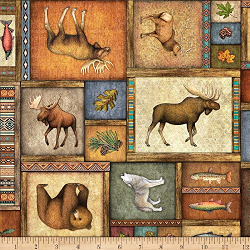 QT Fabrics Timberland Trail Animal Collage Fabric, Multicolor, Fabric By The Yard