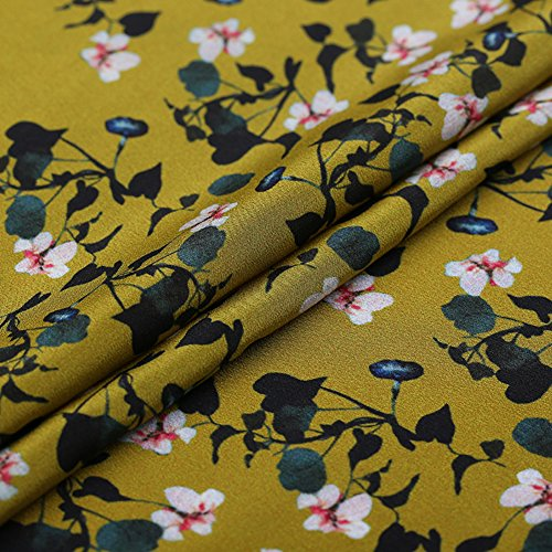 Mustard-Yellow 100% Pure Silk Crepe De Chine Fabric with Small Floral Print By The Yard, 44