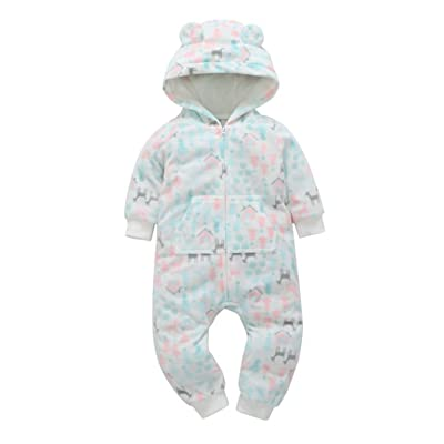 Toddler Girls Autumn Snowflake&Castle Pattern Hooded One Piece Romper Jumpsuit With Pocket