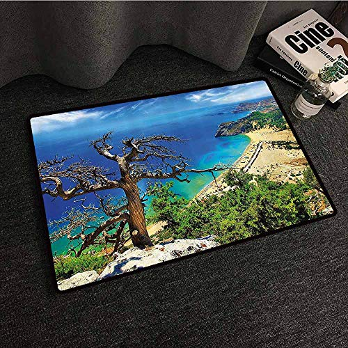 Landscape Entrance Door mat Greek Beach View Rhodes Island Tsambika Coastline Clear Sky and Sea Photo Quick and Easy to Clean W31 xL47 Blue Green Brown