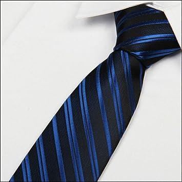 COLILI Corbata Negra A Rayas Azul Real 8 Cm Corbatas De Hombre De ...