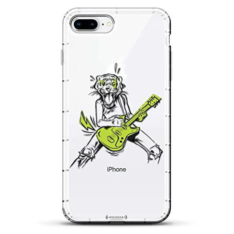 Lifestyle: Rockstar with Tiger Head | Luxendary Air Series Clear case with 3D-Printed Design & Air Cushions for iPhone 8/7 Plus