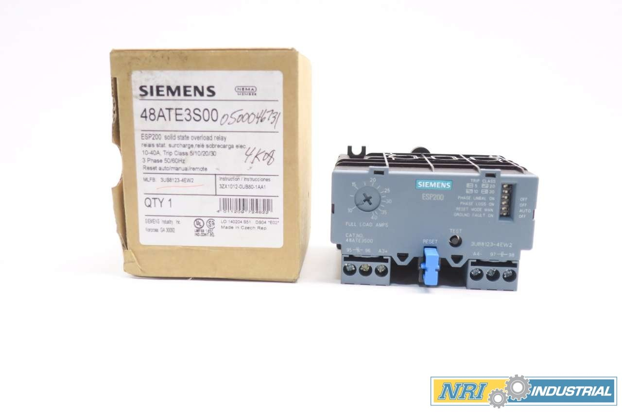NEW SIEMENS 48ATE3S00 ESP200 10-40A AMP 600V-AC OVERLOAD RELAY D554755