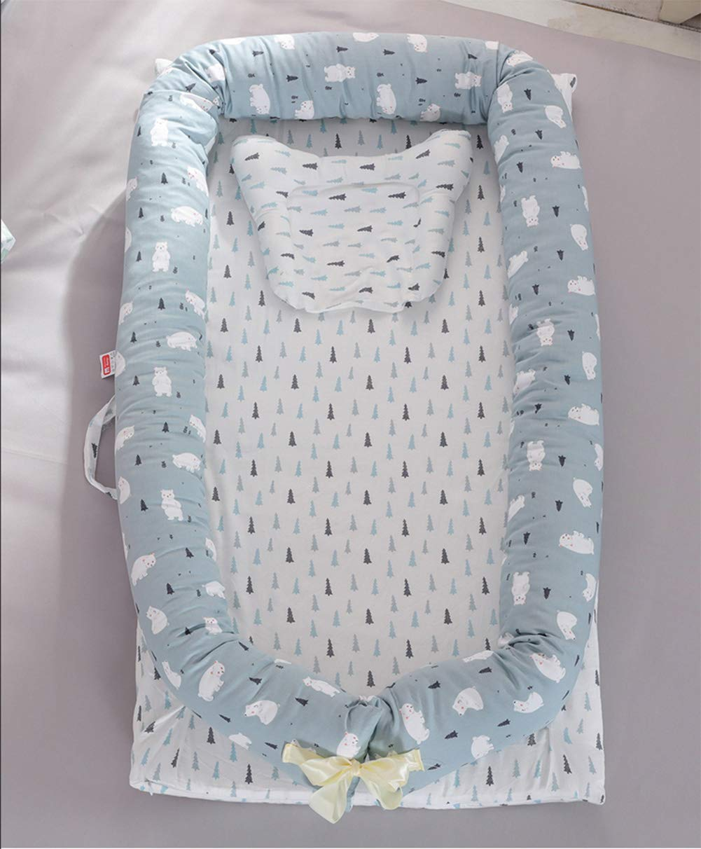 LNDD-Multifunctional Sleeping Nest Pods Baby Lounger Washable Bionic Uterine Bumpers Travel Cradle Mattresses Suitable for 0-3 Years Old Baby,Blue by LNDD