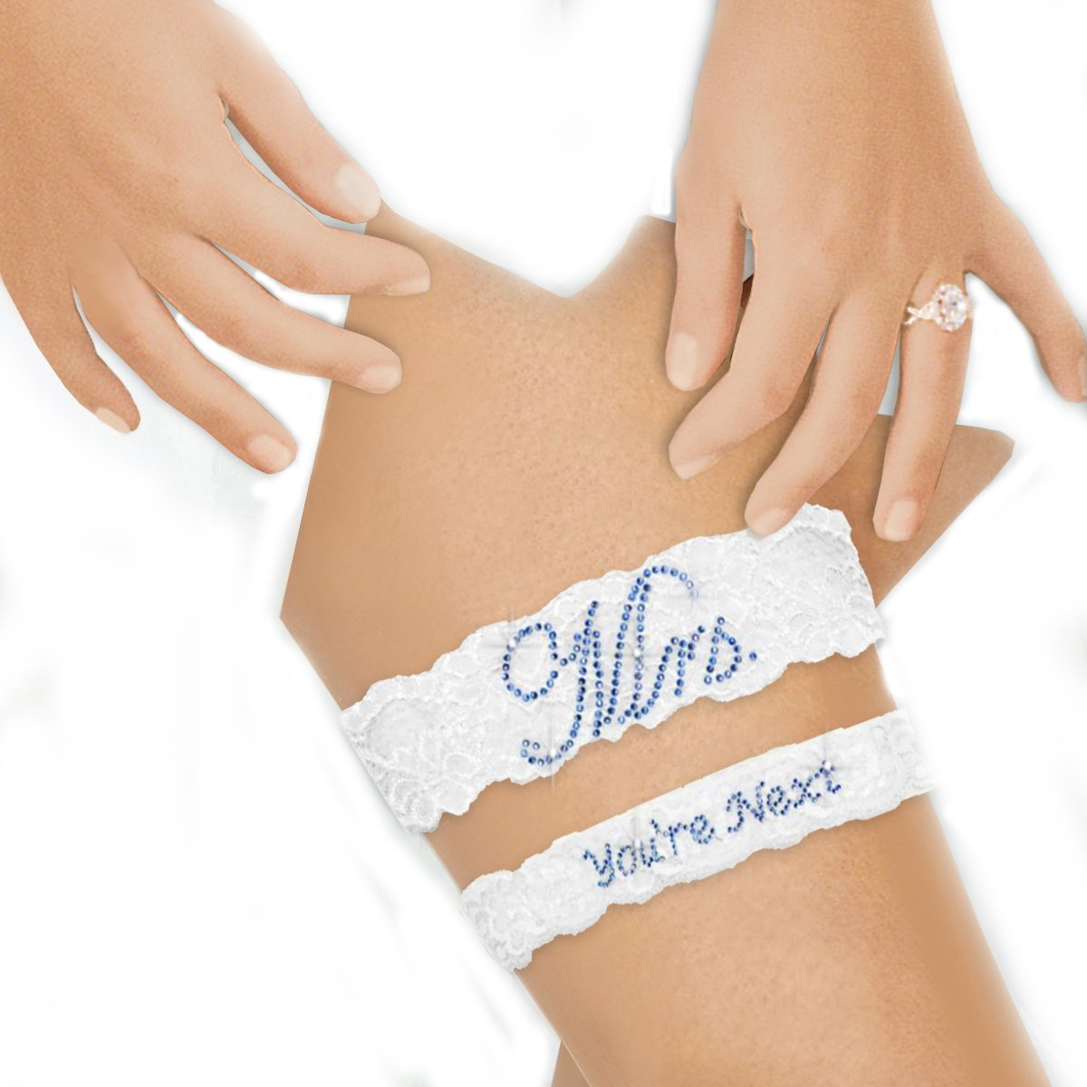 Zynotti Something Blue Bridal Wedding Garter Sets - Mrs. You're Next Garter Set