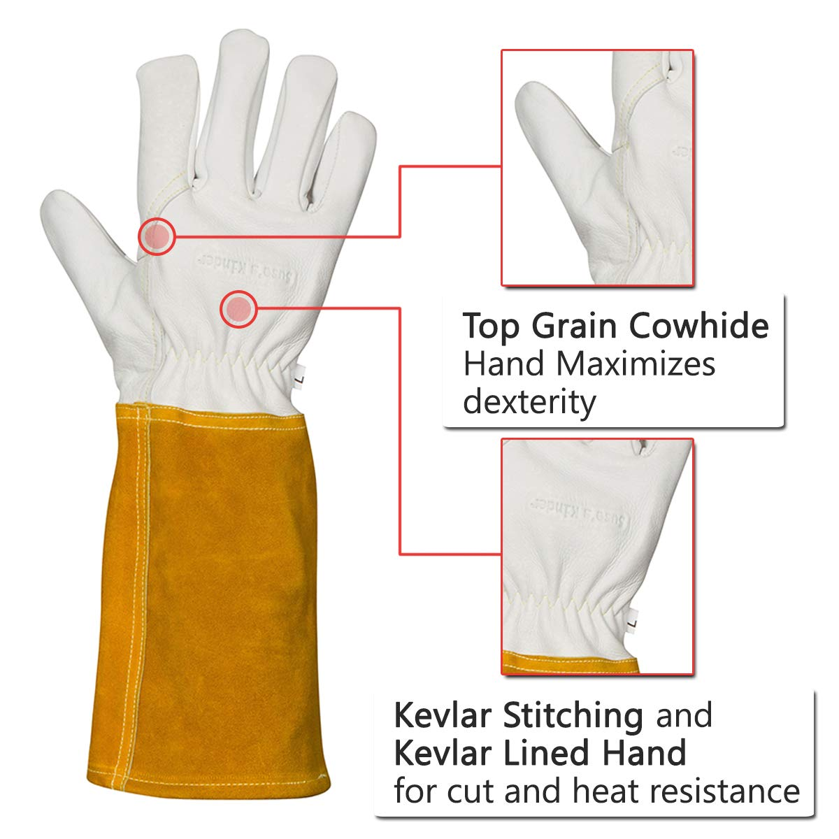 Welding Gloves for Women, Small Mens, Fireproof Heat Resistant, Top Grain Cowhide Kevlar Lined Hand Weld (Small) by Suse's Kinder (Image #4)