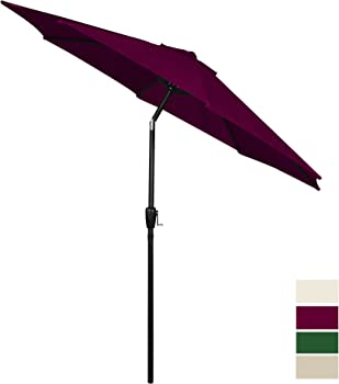 Cloud Mountain 9' Push Button Tilt & Crank Patio Umbrella