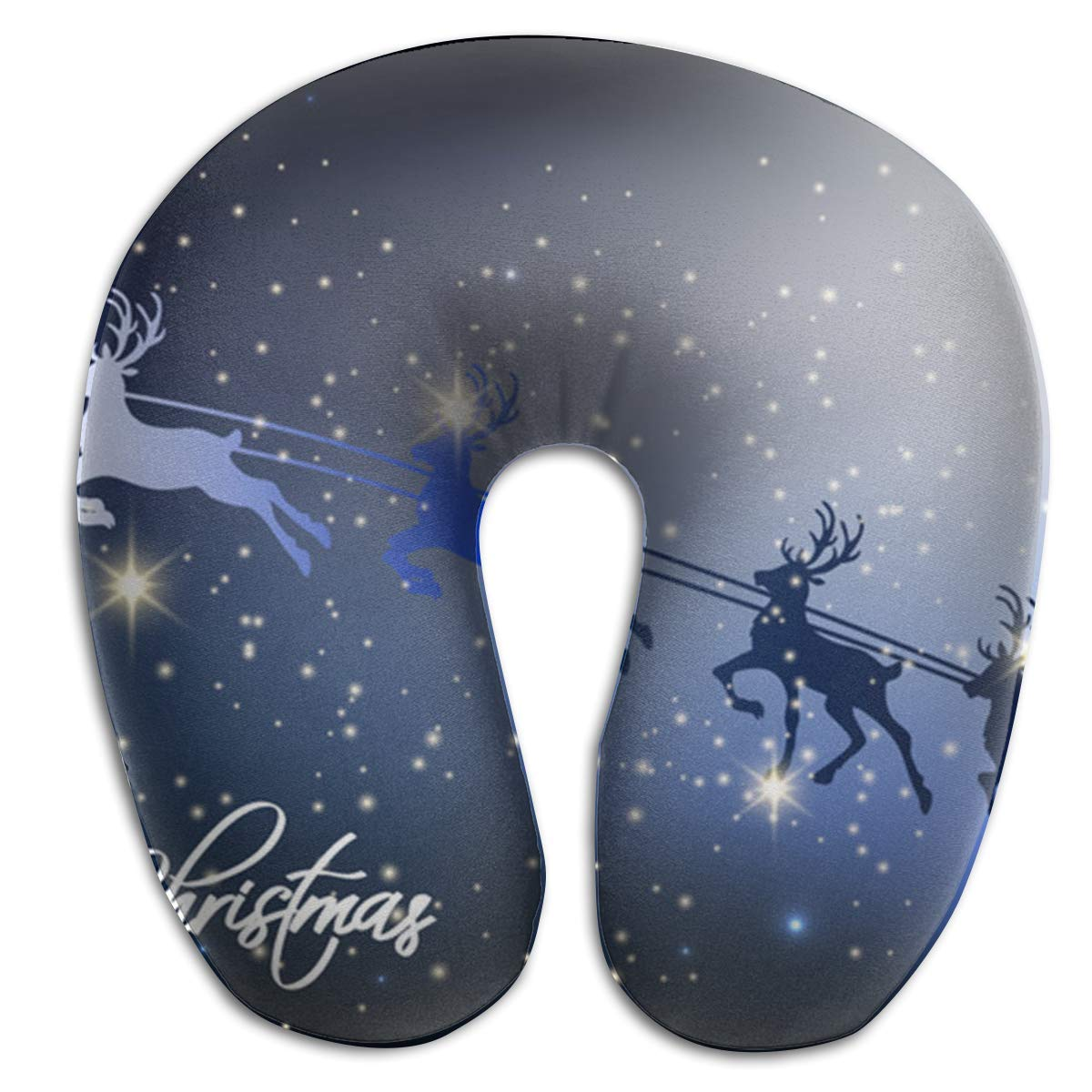 Memory Foam Neck Pillow Christmas Holidays Reindeer U-Shape Travel Pillow Ergonomic Contoured Design Washable Cover for Airplane Train Car Bus Office Hoklcvd