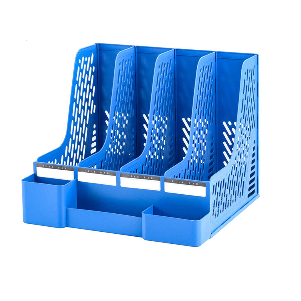 Sturdy Desktop Quadruplicate Magazine Marcos de plástico Divisores de Archivos y Gabinete de Documentos Display y Archivos Storage Organizer Box (Gris, Azul, Negro) (Color : Negro) 1fe670