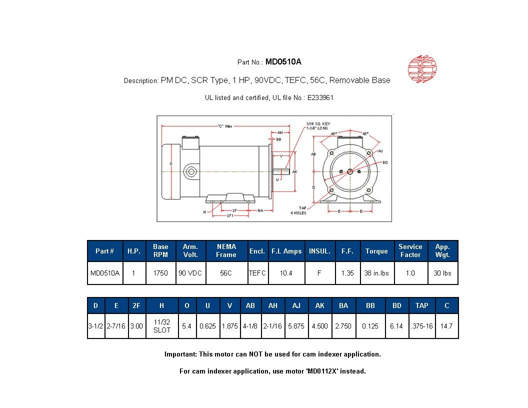 Hallmark Industries Md0510a Dc Motor 1hp 1750 Rpm 90 Vdc 56c Kbic 120 Wiring Diagram Tefc With Foot Electronic Component Motors Industrial Scientific