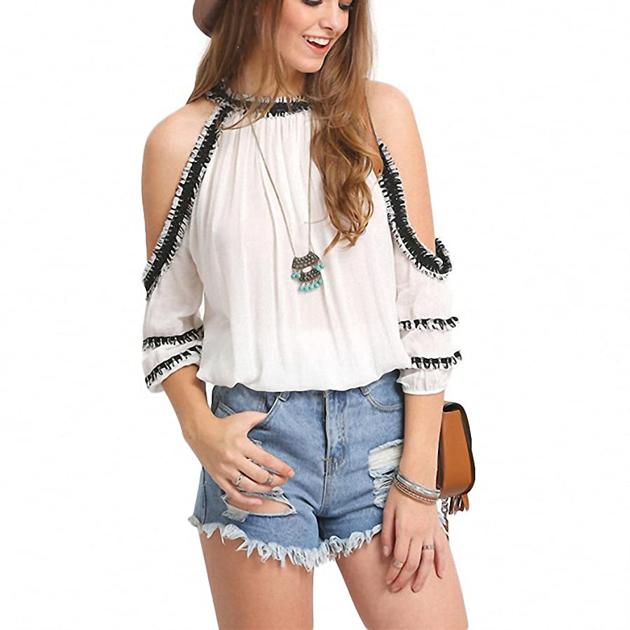 New Arrival Summer Style Womens Fashion Tops Round Neck Short Sleeve White Crochet Trim Cold Shoulder Blouse at Amazon Womens Clothing store: