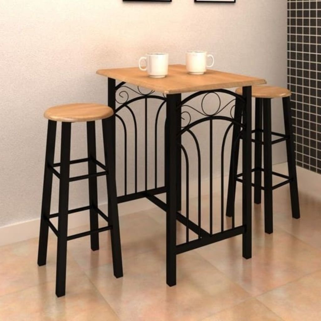 Festnight 3 Piece Dining Table Set Breakfast Table Set with 2 Stool Bar Pub Set Bistro Kitchen Dining Room Home Furniture