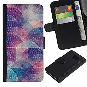 KingStore / Leather Etui en cuir / Samsung Galaxy S6 / Resumen forma Modelo en colores pastel