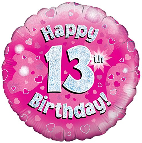 Oaktree Uk 18-inch Happy 13th Birthday Holographic Foil Design Balloons, Pink (Party Supplies Uk)