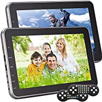Headrest Portable DVD Player for Car 10.1 inch Dual Digital Screen DVD Player Car Monitor Multimedia Built in SD USB slot Support 32Bits Games HDMI included Remote Control