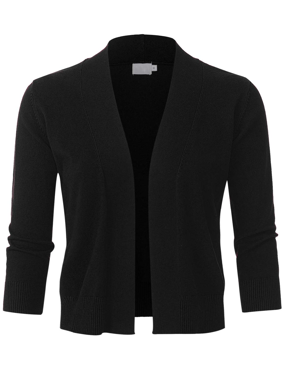 JSCEND Womens Classic 3/4 Sleeve Open Front Cropped Bolero Cardigan Black M by JSCEND
