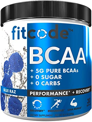 Fitcode Ultra Premium BCAAs with 5G of Pure BCAAs with Proven 2 1 1 Ratio of Amino Acids to Help Post Workout Recovery, Lean Muscle Growth, Endurance, 30 Servings Blue Raz